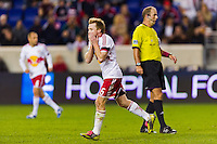 Dax McCarty (11) of the New York Red Bulls reacts to a missed scoring opportunity. The New York Red Bulls and Sporting Kansas City played to a 0-0 tie during a Major League Soccer (MLS) match at Red Bull Arena in Harrison, NJ, on October 20, 2012.