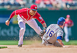 1 June 2014: Washington Nationals shortstop Ian Desmond gets Donnie Murphy caught stealing in the 7th inning against the Texas Rangers at Nationals Park in Washington, DC. The Rangers shut out the Nationals 2-0 to salvage the third the third game of their 3-game inter-league series. Mandatory Credit: Ed Wolfstein Photo *** RAW (NEF) Image File Available ***