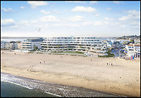 BNPS.co.uk (01202 558833)<br /> Pic: FJB/BNPS<br /> <br /> Stylish new Sandbanks Hotel.<br /> <br /> Plans to transform the millionaire's resort of Sandbanks into 'Britain's Miami Beach' with two new superhotel's and apartments as part of a &pound;250m development have been unveiled. <br /> <br /> A pair of century-old hotels on the exclusive Dorset peninsula will be bulldozed to make way for an extravagant five star hotel on the beach and a smaller hotel with apartments on the cliffs above.<br /> <br /> The luxurious 175 room establishment will replace the existing Sandbanks Hotel, a former Victorian seaside villa built in the 1880s that is now 'coming to the end of its economic life cycle.'<br /> <br /> In keeping with the Miami Beach look, the super hotel will be Art-Deco in style, have curved floors and painted white with palm trees in the grounds.<br /> <br /> The existing historic Harbour Heights Hotel will also be demolished to make way for the second part of the radical development.