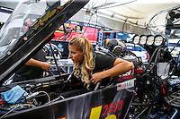May 14, 2016; Commerce, GA, USA; NHRA top fuel driver Leah Pritchett during qualifying for the Southern Nationals at Atlanta Dragway. Mandatory Credit: Mark J. Rebilas-USA TODAY Sports