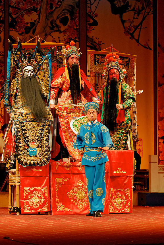 Three Heroes fighting Lu Bu, a traditional Sichuan Opera story, based on the turbulent Three Kingdoms era of Chinese warlord history in the 3rd century.