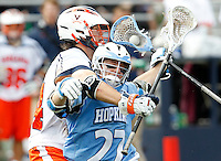 during the game in Charlottesville, VA. Johns Hopkins defeated Virginia 11-10 in overtime.