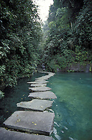 Natural pools and stepping stons at the Los Chorros Turicentro near San Salvador, El Salvador, Central America