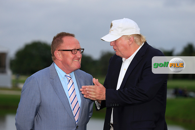 Richard Hills European Tour and Donald Trump during the presentation at the WGC Cadillac Championship, Blue Monster, Trump National Doral, Doral, Florida, USA<br /> Picture: Fran Caffrey / Golffile