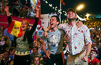 Moscow, Russia, 01/07/2012..Spanish fans celebrate their team's second goal in the Euro 2012 Fan Zone in Gorky Park, as Spain beat Italy 4-0 in the final of the soccer championship.
