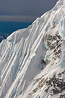 Aerial of steep, fluted mountain ridges surrounding Denali, Denali National Park, Alaska