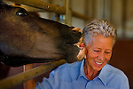 Jean Anderson gets  a kiss from Gator, one her five adopted wild mustangs, at her Los Molinos, Calif. home, Monday July 28, 2008. The Bureau of Land Management (BLM) says there are simply too many of wild mustangs, filling holding pens and roaming freely on public lands in 10 western states, including California, and are planning to kill off a few thousand of them.  (Sacramento Bee/ Brian Baer/ BBAER@SACBEE.COM)