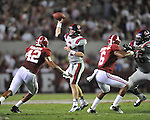 Ole Miss quarterback Bo Wallace (14) vs. Alabama linebacker Adrian Hubbard (42) at Bryant-Denny Stadium in Tuscaloosa, Ala. on Saturday, September 29, 2012. Alabama won 33-14. Ole Miss falls to 3-2.
