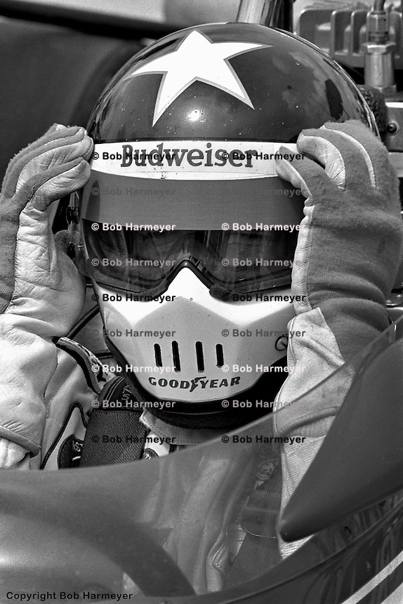 HAMPTON, GA - APRIL 22: Johnny Rutherford prepares to drive his McLaren M24B/Cosworth TC during practice for the Gould Twin Dixie 125 event on April 22, 1979, at Atlanta International Raceway near Hampton, Georgia.