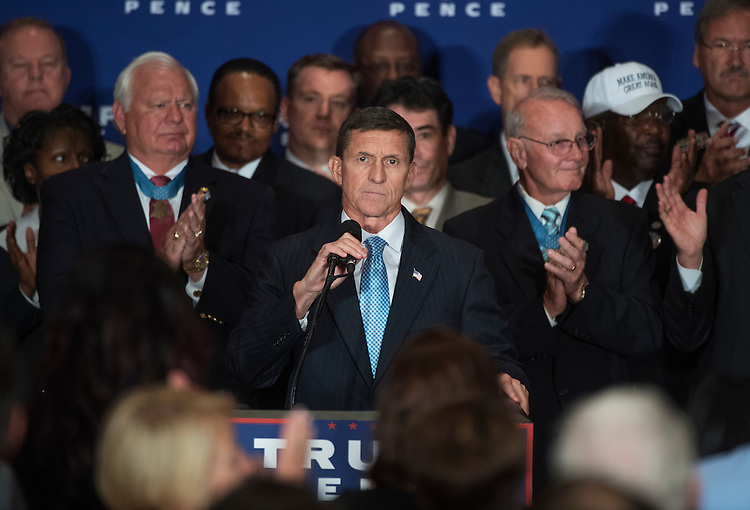 UNITED STATES - SEPTEMBER 16: Retired Lt. Gen. Michael Flynn, speaks during a Republican presidential candidate Donald Trump campaign event with veterans at the Trump International Hotel on Pennsylvania Ave., NW, where Trump stated he believes President Obama was born in the United States, September 16, 2016. (Photo By Tom Williams/CQ Roll Call)