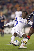 Kansas City Wizards midfielder Kei Kamara (23) attempts to control quick pass near the net. The New England Revolution defeated Kansas City Wizards, 1-0, at Gillette Stadium on October 16, 2010.