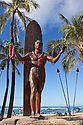 Duke Kahanamoku statue at Kuhio Beach Park on Waikiki Beach;  Honolulu, Oahu, Hawaii.