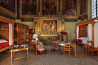 Salle Saint-Hugues, created in 1645 for wealthy patients, and decorated with paintings by Isaac Moillon of the miracles of Christ and St Hugues, in Les Hospices de Beaune, or Hotel-Dieu de Beaune, a charitable almshouse and hospital for the poor, built 1443-57 by Flemish architect Jacques Wiscrer, and founded by Nicolas Rolin, chancellor of Burgundy, and his wife Guigone de Salins, in Beaune, Cote d'Or, Burgundy, France. The altarpiece, also by Isaac Moillon, represents the raising of children who died of the plague. The hospital was run by the nuns of the order of Les Soeurs Hospitalieres de Beaune, and remained a hospital until the 1970s. The building now houses the Musee de l'Histoire de la Medecine, or Museum of the History of Medicine, and is listed as a historic monument. Picture by Manuel Cohen