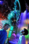 Downtown Charlotte science museum Discovery Place, new hands-on and marine exhibits opened summer 2010. This is the lighting effects in the new Optimusic Dome exhibit