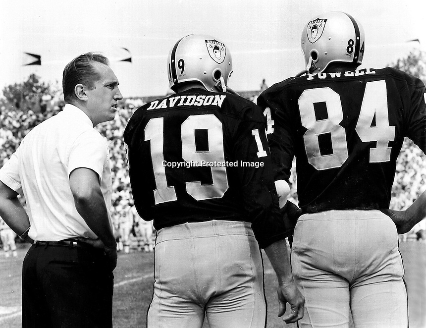 Oakland Raider coach Al Davis with QB Cotten Davidson and reciever Art Powell 1964 at Frank Youell Field in Oakland. (photo  Ron Riesterer)