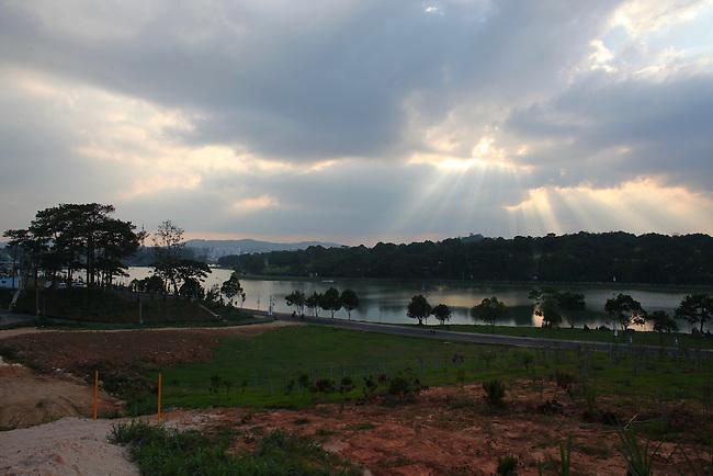 A view of Xuan Huong Lake, Dalat, Vietnam. April 20, 2016.