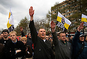 """Russian Neo-Nazis chant """"sieg heil"""" in Moscow during a demonstration to celebrate Hitlerís birthday. Russia is experiencing a surge of extremism, sometimes resulting in violent attacks on foreigners."""