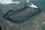 Aerial View: Coal waste from coal burning power plant, Hopewell Virginia.