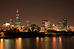 Chicago night skyline downtown city lakefront with Willis Tower (Sears Tower)