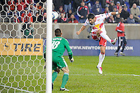 Juan Pablo Angel (9) of the New York Red Bulls scores off a header. The San Jose Earthquakes defeated the New York Red Bulls 3-1, (3-2) on aggregate during the 2nd leg of the Major League Soccer (MLS) Eastern Conference Semifinals at Red Bull Arena in Harrison, NJ, on November 04, 2010.