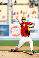 28 February 2010: #45 pitcher Ben Mount of the USC Trojans Baseball team during the first annual Dodgertown Classic at Dodger Stadium at Chavez Ravine. A college baseball round robin tournament sponsored by the MLB Los Angeles Dodgers. 14,588 were in attendance to watch the UCLA Bruins defeat the USC Trojans 6-1 on a sunny afternoon in Southern California.