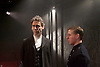 The Father <br /> by August Strindberg <br /> at Trafalgar Studios <br /> London, Great Britain <br /> press photocall <br /> 12th March 2015 <br /> <br /> <br /> Robert Wilfort as Pastor <br /> Thomas Coombes as Nojd<br /> <br /> <br /> Photograph by Elliott Franks <br /> Image licensed to Elliott Franks Photography Services