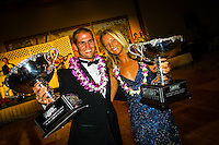 North Shore, Oahu,Hawaii.  CJ Hobgood (USA) and Layne Beachley (AUS) were crowned the 2001 ASP World Professional Surfing Champions in a year that was cut short by the tourist attacks of 9/11. Photo: joliphotos.com