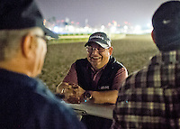 HALLANDALE BEACH, FL - JAN 27: Assistant Trainer Alan Sherman laughs with Groom Raul Rodriguez and Trainer Art Sherman during California Chrome's final workout for the Pegasus World Cup at Gulfstream Park Race Course on January 27, 2017 in Hallandale Beach, Florida. (Photo by Scott Serio/Eclipse Sportswire/Getty Images)