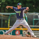 8 July 2014: Vermont Lake Monsters pitcher Blake McMullen on the mound against the Lowell Spinners at Centennial Field in Burlington, Vermont. The Lake Monsters rallied with two runs in the 9th to defeat the Spinners 5-4 in NY Penn League action. Mandatory Credit: Ed Wolfstein Photo *** RAW Image File Available ****