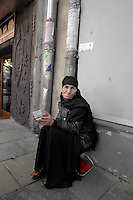 A woman begger in Tbilisi.