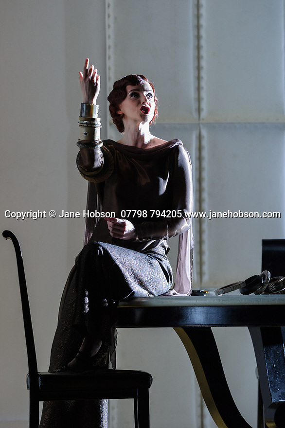 "London, UK. 13.03.2017. English National Opera preents Christopher Alden's production of ""Partenope"", by George Frederic Handel, at the London Coliseum.  Picture shows: Sarah Tynan (Partenope). Photograph © Jane Hobson."