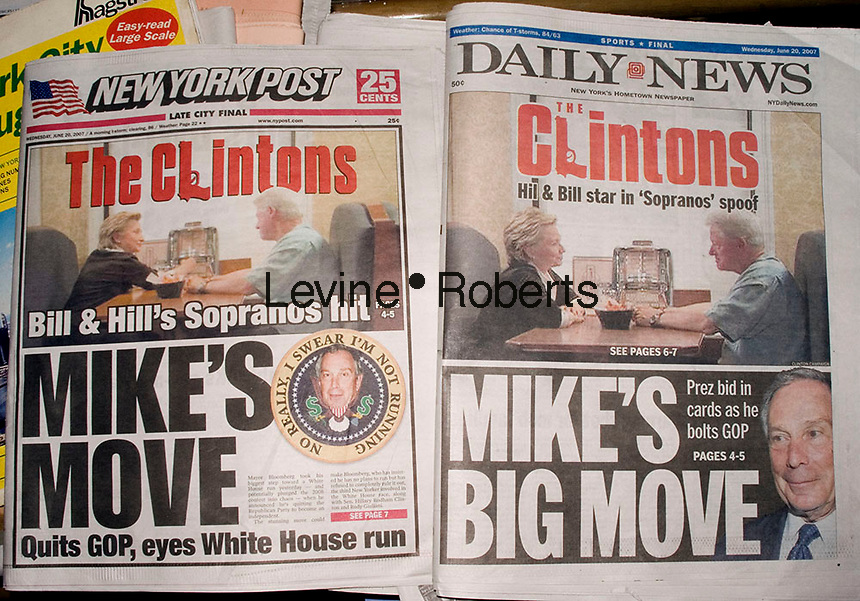 Copies of the New York Daily News and the New York Post look remarkably the same on June 20, 2007. Both tabloids featured the Clinton video and Mayor Mike Bloomberg's defection from the Republican Party using similar graphics for the Clinton story. (© Richard B. Levine)