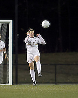 """Boston College forward Maddie Payne (3) heads the ball. Boston College defeated West Virginia, 4-0, in NCAA tournament """"Sweet 16"""" match at Newton Soccer Field, Newton, MA."""