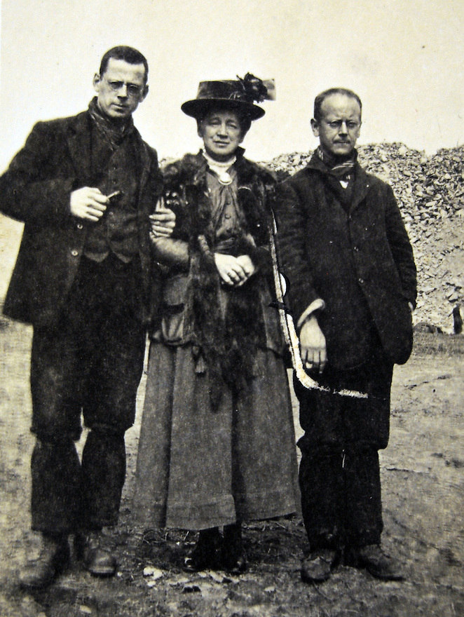 MARTEN WW1 CASE STUDY. COLLECT OF HOWARD C MARTEN, CONSCIENTIOUS OBJECTOR, WITH HIS MOTHER AND A FELLOW CO, TAKEN IN THE DYCE QUARRY WHERE HE WAS SENT TO SERVE A SENTENCE OF HARD LABOUR.