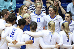 11 September 2015: Duke head coach Jolene Nagel (in blue) talks to her team before the match. The Duke University Devils hosted the Stanford University Cardinal at Cameron Indoor Stadium in Durham, NC in a 2015 NCAA Division I Women's Volleyball contest. Stanford won the match 3-2 (17-25, 25-22, 17-25, 25-23, 10-15).