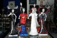 Mexican Catrina figures in Mercado 28 souvenirs and handicrafts market in  Cancun, Mexico      .
