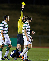 2010 NCAA champion Akron visits Charlotte in the third round of the NCAA Division I men's soccer championship.  Charlotte won 1-0.  Referee gives a caution to Charlotte's Robby Thomas.