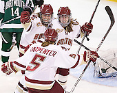 Alex Carpenter (BC - 5), Danielle Welch (BC - 17), Emily Field (BC - 15) - The Boston College Eagles defeated the Dartmouth College Big Green 4-3 on Sunday, October 23, 2011, at Kelley Rink in Conte Forum in Chestnut Hill, Massachusetts.