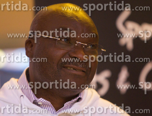 Roger Milla, world star of African football from Cameroon presents his foundation created in 2005 for children in need, on June 26, 2010 at Nelson Mandela Square, Sandton, suburb of Johannesburg, South Africa. (Photo by Vid Ponikvar / Sportida)
