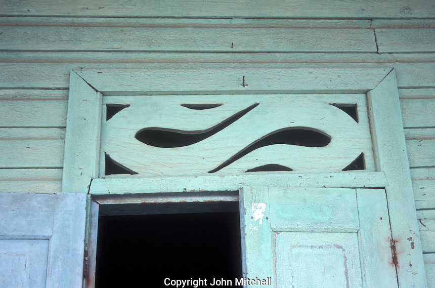 Architectural detail of an old Cribbean style wooden house in the town of Bocas del Toro, Isla Colon, Panama