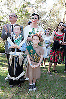 Winner of the best dressed family Paul and Gillian with Flynn 8 and Giselle Taylor 7 from Thornleigh are picured at The 2012 Historic Houses Trust of NSW annual Fifties Fair at Rose Seidler House, Sydney. Picture James Horan