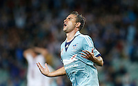 Sydney FC Richard Garcia reacts after scoring during his A-League match against Perth Glory in Sydney, April 13, 2014. Photo by Daniel Munoz/VIEWPRESS EDITORIAL USE ONLY