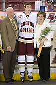 Wayne Kucharski, Kyle Kucharski (Boston College - 18), Kellee Kucharski - The Boston College Eagles defeated the Northeastern University Huskies 4-1 on senior night at Kelley Rink at Conte Forum in Chestnut Hill, Massachusetts, on Saturday, March 7, 2009.