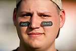 BEACON FALLS,  CT-051917JS14- Woodland's Carlo DellaValle sports some Axe Game eye black stickers as they compete with Wamogo Friday in the Axe Games at Woodland Regional High School in Beacon Falls.<br />  Jim Shannon Republican-American
