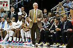 30 January 2016: UNC head coach Roy Williams wears sneakers with gold laces as part of Coaches vs Cancer. The University of North Carolina Tar Heels hosted the Boston College Eagles at the Dean E. Smith Center in Chapel Hill, North Carolina in a 2015-16 NCAA Division I Men's Basketball game. UNC won the game 89-62.