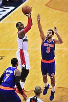 John Wall of the Wizards pulls up for a jump shot. New York defeated Washington 115-104 during a NBA preseason game at the Verizon Center in Washington, D.C. on Friday, October 9, 2015.  Alan P. Santos/DC Sports Box