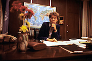 Washington, D.C. - March 2, 1984. Jeane Kirkpatrick in her office at the States Department. She (December 19, 1926 - December 7, 2006) was the first female U.S. ambassador to the United Nations, who was renown for her support of anticommunist governments and authoritarian dictatorships.