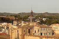 Church of Reparacion above the rooftops of the old town of Tortosa, Tarragona, Spain. The church was built in 1899 by the architect Joan Abril i Guanyabens and has an octagonal stained glass skylight with an iron belfry. Picture by Manuel Cohen