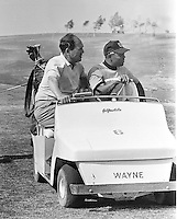San Francisco Giants spring training, Willie Mays in golf cart with Giants Manager Herman Franks.1967(photo/Ron Riesterer)