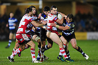 Tom Marshall of Gloucester Rugby takes on the Bath Rugby defence. Anglo-Welsh Cup match, between Bath Rugby and Gloucester Rugby on January 27, 2017 at the Recreation Ground in Bath, England. Photo by: Patrick Khachfe / Onside Images